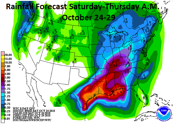 Rainfall Forecast For Saturday-Thursday A.M. October 24-29